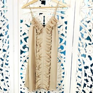 Naked Zebra Front Ruffle Detail Nude Mini Dress